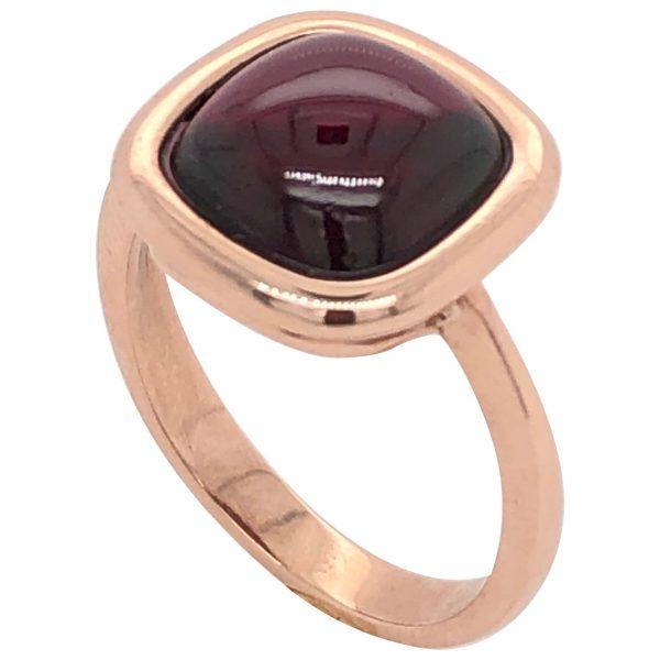 Mesure et art du temps - Red Garnet on Rose Gold Ring