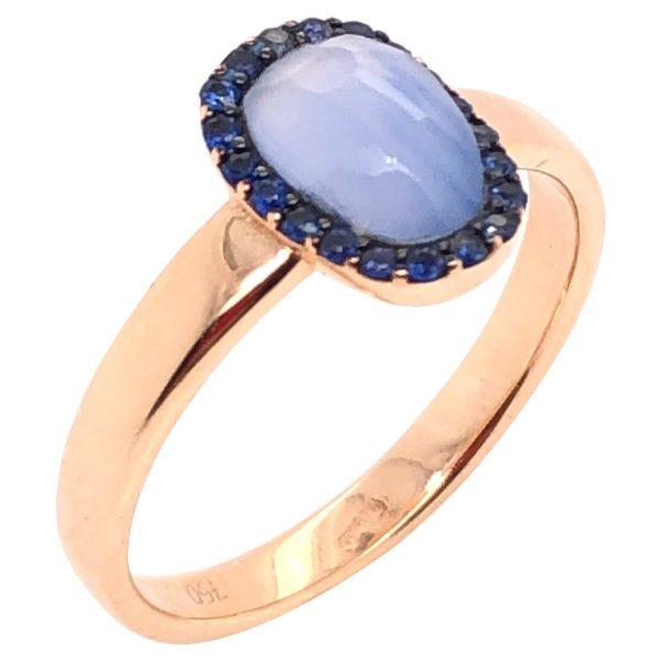 Mesure et art du temps - Chalcedony and Blue Sapphire Rose Gold Ring