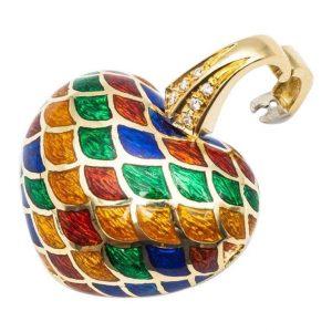 Mesure et art du temps présente 18 Kt Yellow Gold Pendant with Yellow, Red, Green and Blue Diamonds and Enamel