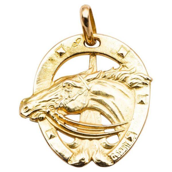Mesure et art du temps - 18 Karat Yellow Gold Pendant Lucky Charm, Horse. Pendentif - Cavalier - Cheval - Or Jaune 18 Karat