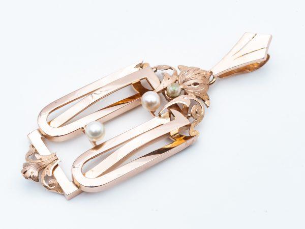 Mesure et art du temps - 18 Karat Rose Gold Pendant with 3 Fine Pearls. Perles de cultures - Or Rose - Pendentifs - Collier