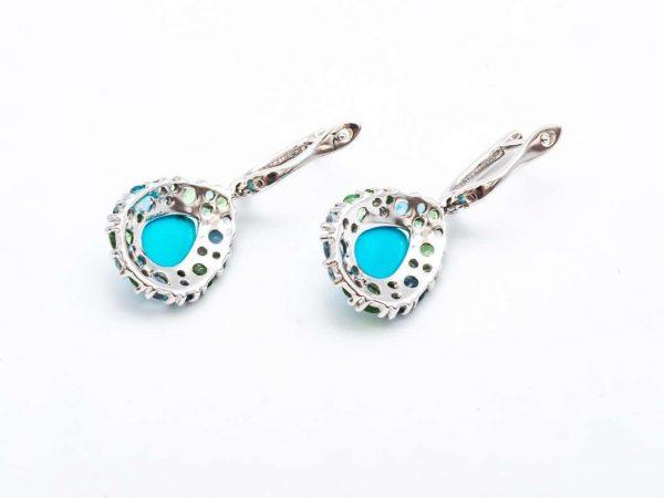 Mesure et art du temps 18 ct White Gold Pendant Earrings with Tsavorite, Turquoise, Topaz and Diamonds