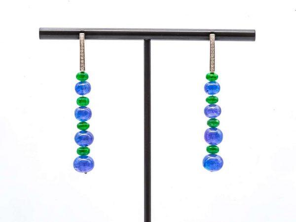 Mesure et art du temps - 0.12 Carat Diamond Earrings with Tanzanite and Tsavorite Beads
