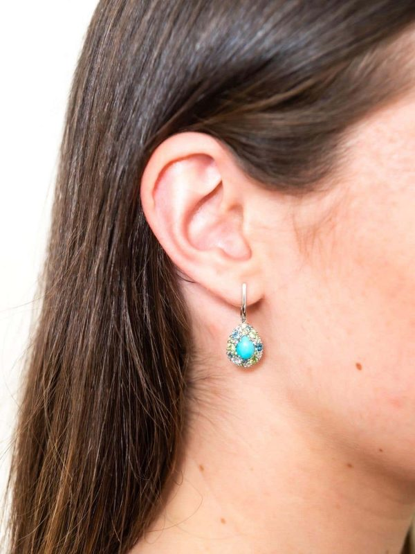 Mesure et Art du Temps - 18 ct White Gold Pendant Earrings with Tsavorite, Turquoise, Topaz and Diamonds