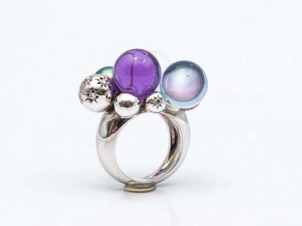 Mesure et art du temps - Baccarat Gold, Pearl, Crystal and Diamond Rings