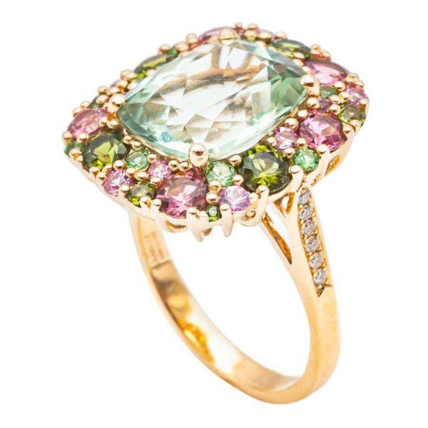 Mesure et art du temps - Yellow Gold Ring Precious stones and Diamonds
