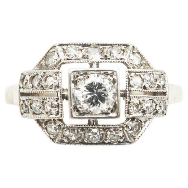 Mesure et art du temps - 18 Karat White Gold Ring with Diamonds