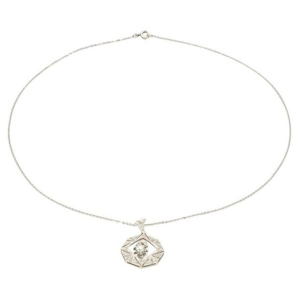 Mesure et art du temps - Necklace Geometric Pendant 18 Carat White Gold with Diamonds and Articulated Dia