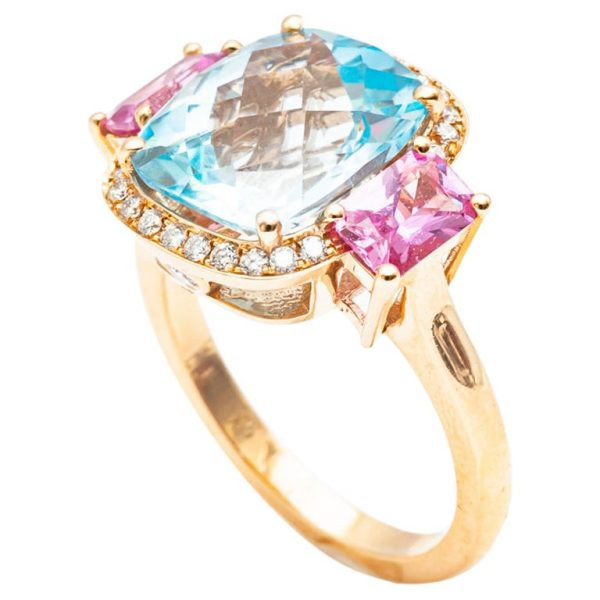 Mesure et art du temps - 18 Carat Yellow Gold Topaz, Pink Sapphire and Diamond Ring