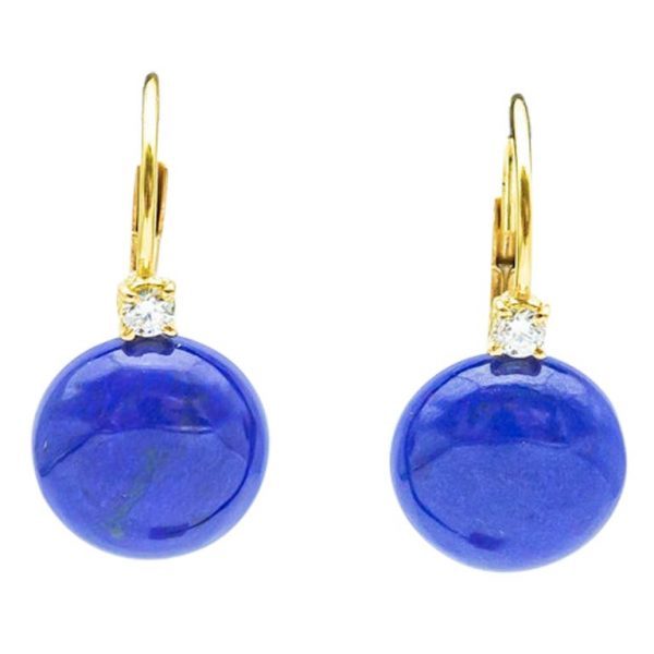 Mesure et art du temps - 18k Yellow Gold Diamond and Lapis Lazulis Drop Earring