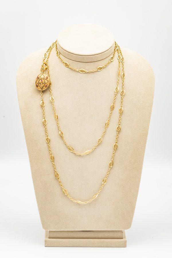 Mesure et art du temps - Antique Yellow Gold Necklace Hand Decorated Bijoutier Joaillier France Vannes Bretagne