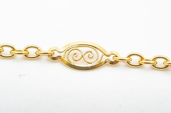 Mesure et art du temps - Antique Yellow Gold Necklace Hand Decorated