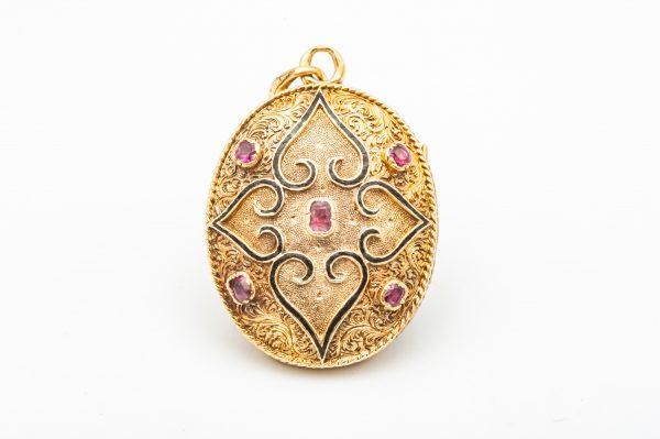 Mesure et art du temps - AntiqueYellow Gold Photo Holder Pendant. Bijoutier - Joaillier - Horloger France - Morbihan - Vannes