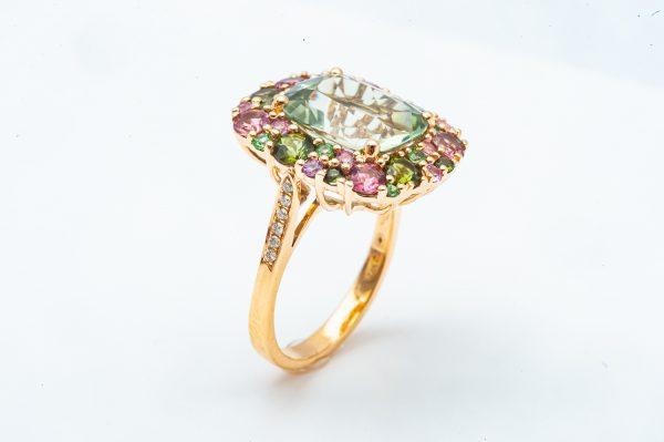Mesure et art du temps - Yellow Gold Ring Precious stones and Diamonds. Pierres précieuses - Bijoutier - Joaillier - Vannes - France