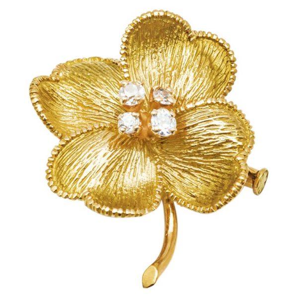 Mesure et art du temps - 18 Karat Yellow Gold and Diamonds Four Leaf Clover Brooch