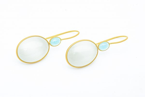 Mesure et art du temps - Yellow Gold Aquamarine and Quartz Earring