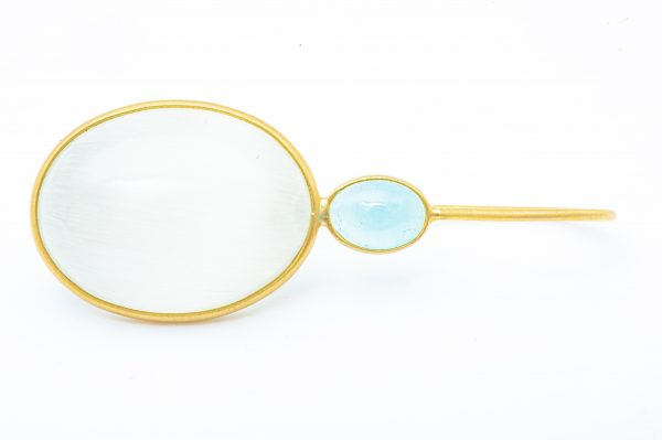 Mesure et art du temps - Yellow Gold Aquamarine and Quartz Earring. Bijoutier - Joaillier - France - Bretagne - Morbihan - Vannes