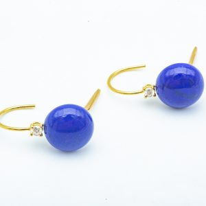 Mesure et art du temps - 18k Yellow Gold Diamond and Lapis Lazulis Drop Earring. Bijoutier - Joaillier - France - Vannes - Morbihan