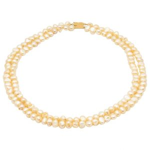 Mesure et art du temps - 2 Strands Fine Pearls Necklace with 18k Yellow Gold Clasp Necklace of Fine Pearls 2 Rows that has been threaded. Clasp in 18 karat yellow gold. Width of the pearls: 0,8 cm Width: 1,3 cm Length: 46,5 cm