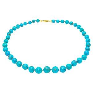 Mesure et art du temps - Natural Turquoise Beads Necklace 18K Gold Clasp Turquoise beads necklace with several diameters. Clasp with two security to secure the necklace. Diameters of the pearls: smaller 0,7 cm - larger 1 cm Width: 1 cm Length: 65 cm