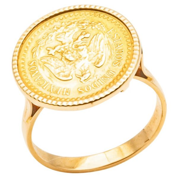 "Mesure et rat du temps - Ring Coins 2 Pesos Yellow Gold 24 Carats Estados Unidos Mexicana Solid 18k gold ring, eagle head hallmark, set with a gold coin of Dos Pesos Mexicanos, with the effigy of an eagle ""Estados Unidos Mexicanos"", dated 1945, 20th century. Size : 54 FR; 6,75 US; N UK"