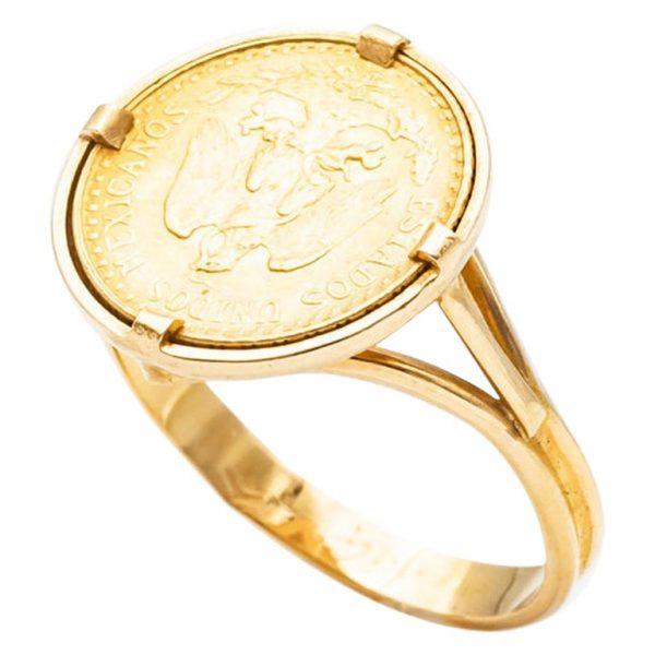 "Mesure et art du temps - Solid 18k gold ring, eagle head hallmark, set with a gold coin of Dos Pesos Mexicanos, with the effigy of an eagle ""Estados Unidos Mexicanos"", dated 1945, 20th century. Size : 54 FR; 6,75 US; N UK"