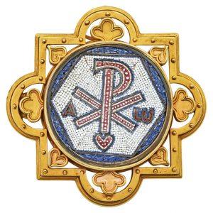 Mesure et art du temps - Antique Religious Brooch Micro Mosaic 18K Yellow Gold