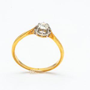 Mesure et art du temps - Yellow Gold and 18 karat White Gold Solitaire Ring with a Diamond 0.23 carat 8 claw Brillant or Rose cut diamond. Size: 52.5 FR, 6 US, L UK . Bijoutier Joaillier France Bretagne