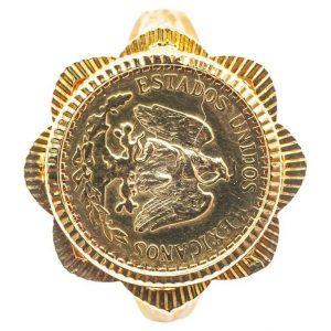 """Mesure et art du temps - Ring Coins 2 Yellow Gold Pesos 18 Carats Estados Unidos Mexicana Solid 18k gold ring, eagle head hallmark, set with a gold coin of Dos Pesos Mexicanos, with the effigy of an eagle """"Estados Unidos Mexicanos"""", dated 1945, 20th century. Size : 56 FR; 7,75 US; O UK"""