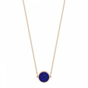 Mesure et art du temps - Bring color to your life ! EVER, a range of natural stones and original and graphic shapes. We play with colors, we associate them, we wear them in accumulation ... for a colorful life ! 18K rose gold and lapis necklace, 43 cm size of the pattern : 6 mm