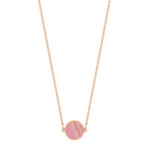 Mesure et art du temps - Bring color to your life ! EVER, a range of natural stones and original and graphic shapes. We play with colors, we associate them, we wear them in accumulation ... for a colorful life ! necklace 18 carat pink gold and rhodochrosite, 43 cm size of the pattern : 6 mm