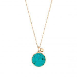 Mesure et art du temps - Bring color to your life ! EVER, a range of natural stones and original and graphic shapes. We play with colors, we associate them, we wear them in accumulation ... for a colorful life ! necklace 18 carat pink gold and turquoise, 43 cm size of the pattern : 11 mm