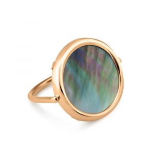 Mesure et art du temps - Just pick your color! DISC RINGS uses a deliberately upturned mount, so that the stone is in direct contact with the skin. You will benefit from the healing powers of the stone of your choice. 18K rose gold and black mother of pearl ring size of the pattern : 18 mm