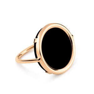 Mesure et art du temps - Just pick your color ! DISC RINGS uses a deliberately turned setting, so that the stone is in direct contact with the skin. You will benefit from the healing powers of the stone of your choice. 18K rose gold and onyx ring