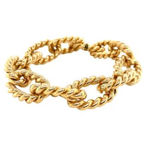 Mesure et art du temps - Gourmet Bracelet 18K Yellow Gold Handmade twisted mesh with a spring clasp and double safety clasp to ensure its safety at the wrist. length : 22 cm
